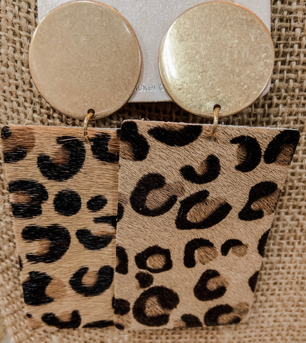 SL Cheetah Cowhide Leather Earrings