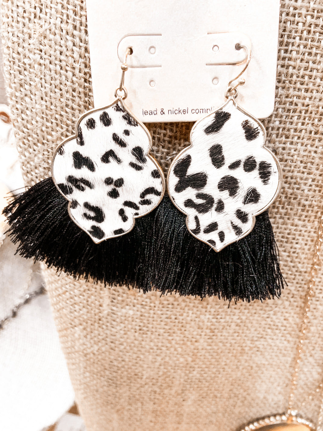 SL Cheetah Black & White Tassel Earrings