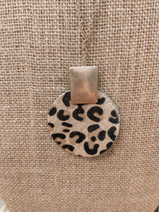 SL Cheetah Leather Cowhide Necklace