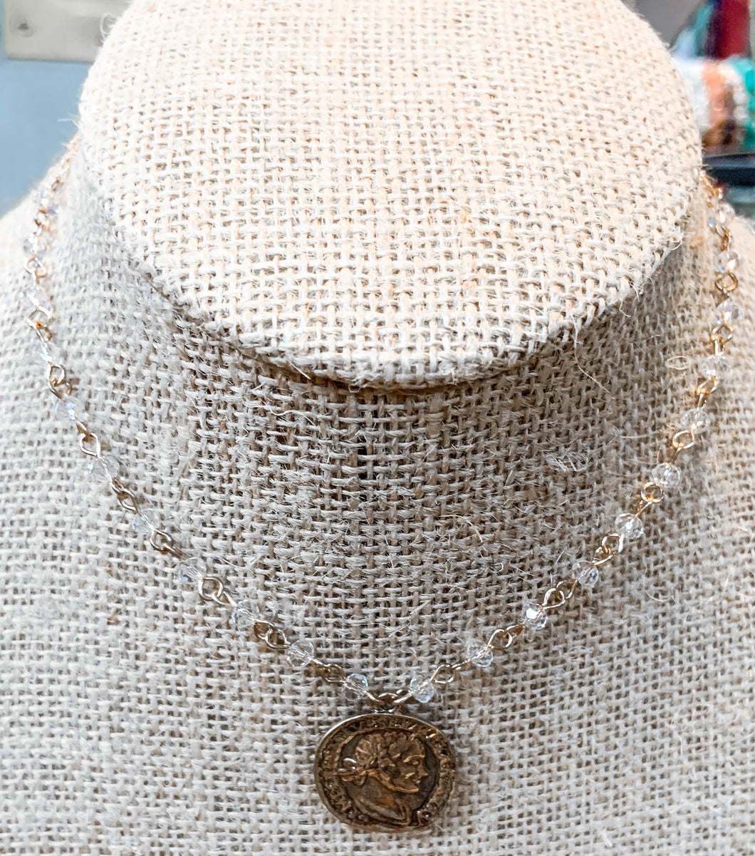 Clear Bead Coin Choker Necklace
