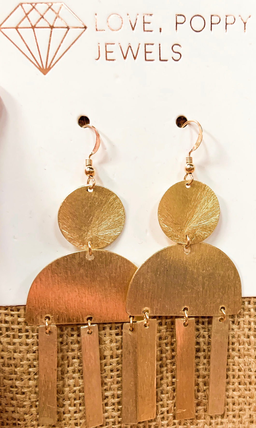 Love Poppy Gold Metal Dangle Earring