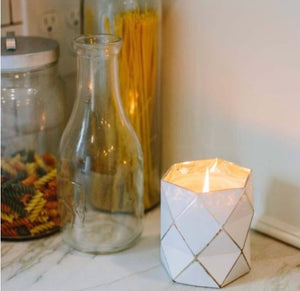 Sweet Grace #019 White Geometric Candle