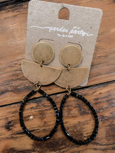 Gold Aztec Black Beaded Earrings