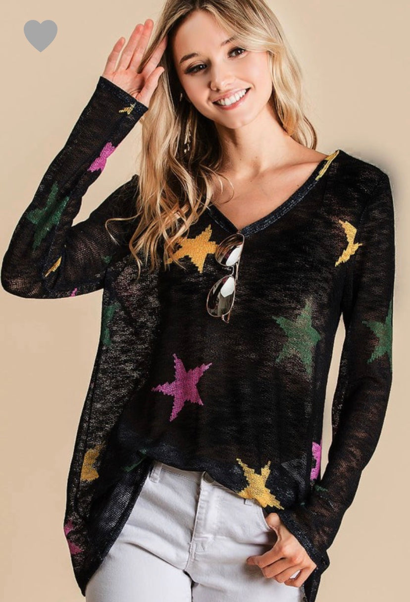 BIBI Star V Neck Long Sleeve