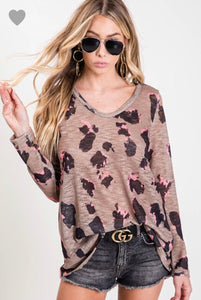 BIBI Leopard Slub Top V-neck