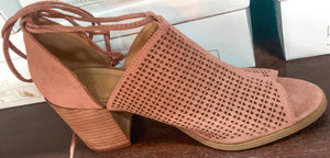 Mauve Wrap Around Block Heel