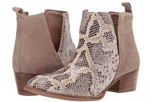 Diba True Snakeskin Short Side Bootie Nude Beige