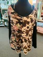 Load image into Gallery viewer, Bibi Cow Print/Camo Top