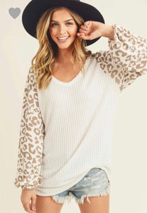 First Love White Balloon Sleeve Leopard Top