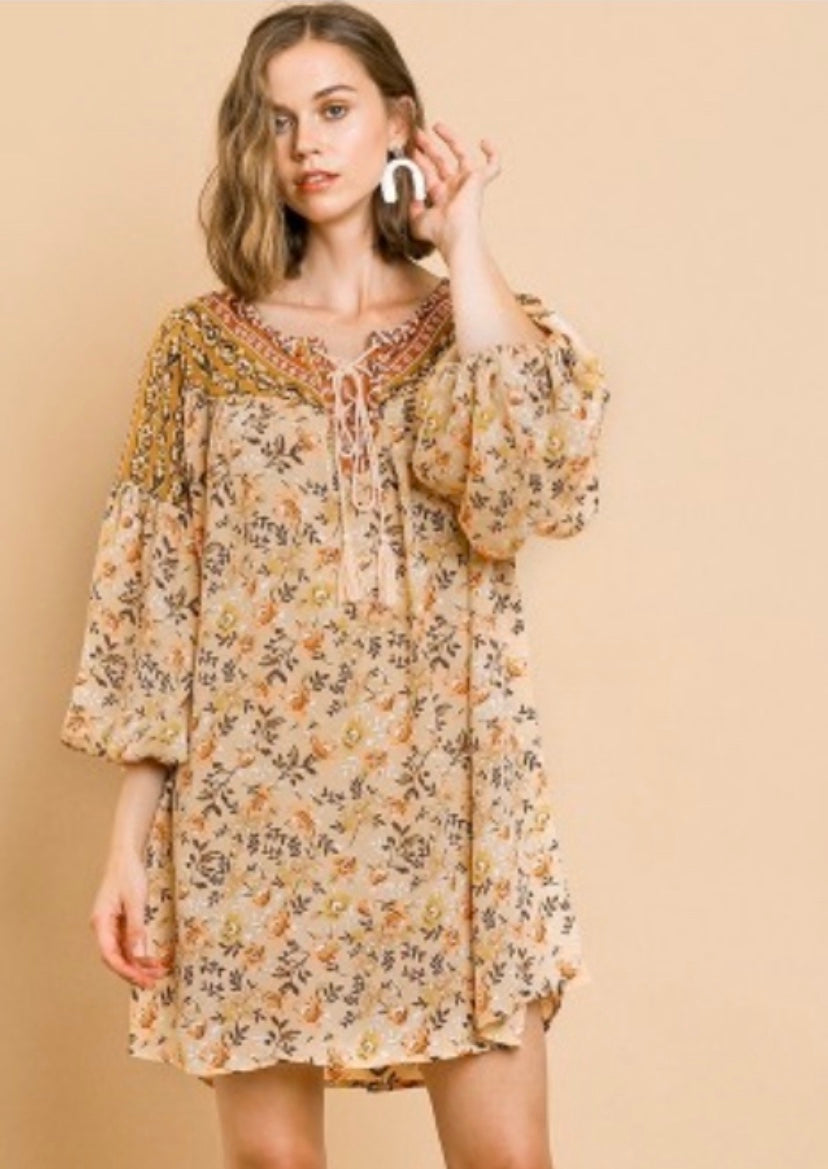 Umgee Floral Sand Mix Dress