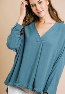 Umgee V Neck Frayed Hem Top