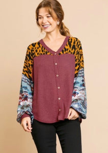 Umgee Aztec Animal Sleeve Waffle Knit Top