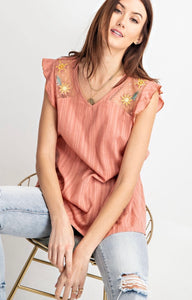 SL - Easel Dried Coral Top w Floral Emb