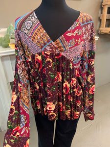 Oddi Plus Size Burgundy Floral V-Neck Top