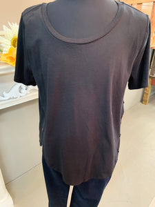 Umgee Plus Scoop Neck Top Button Detail