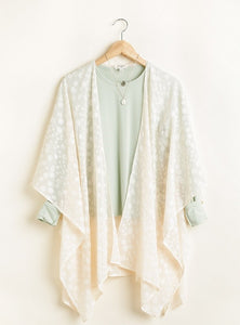SL- Cream Kimono With Dot & Metallic Thread