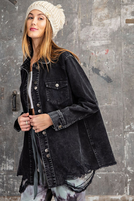 RC- Distressed Black Denim Jacket
