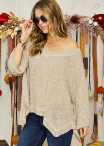 RC- Hacci Deep V-Neck Top Khaki