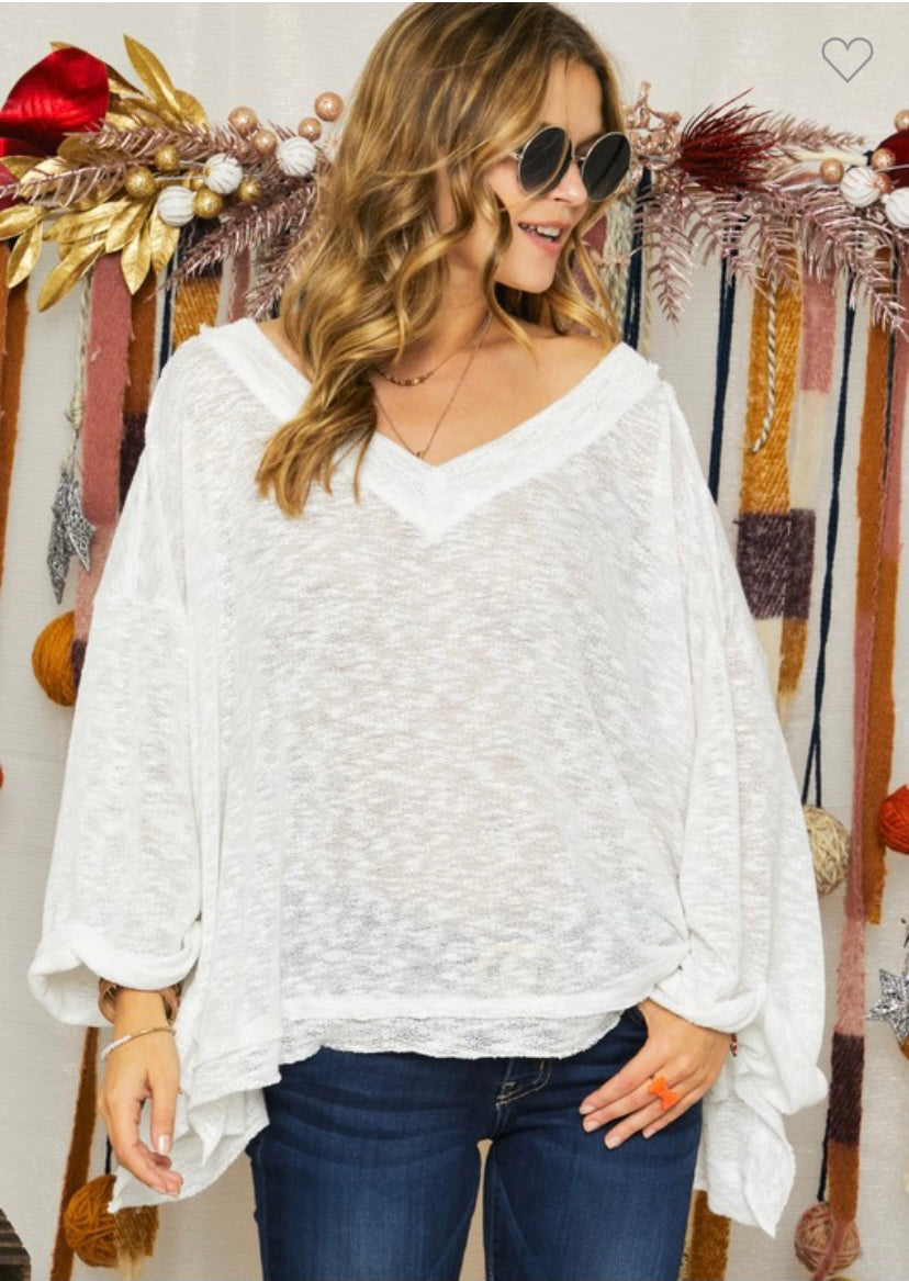 RC- Hacci Deep V-Neck Top Ivory