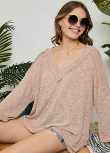RC- Hacci Deep V-Neck Top Blush