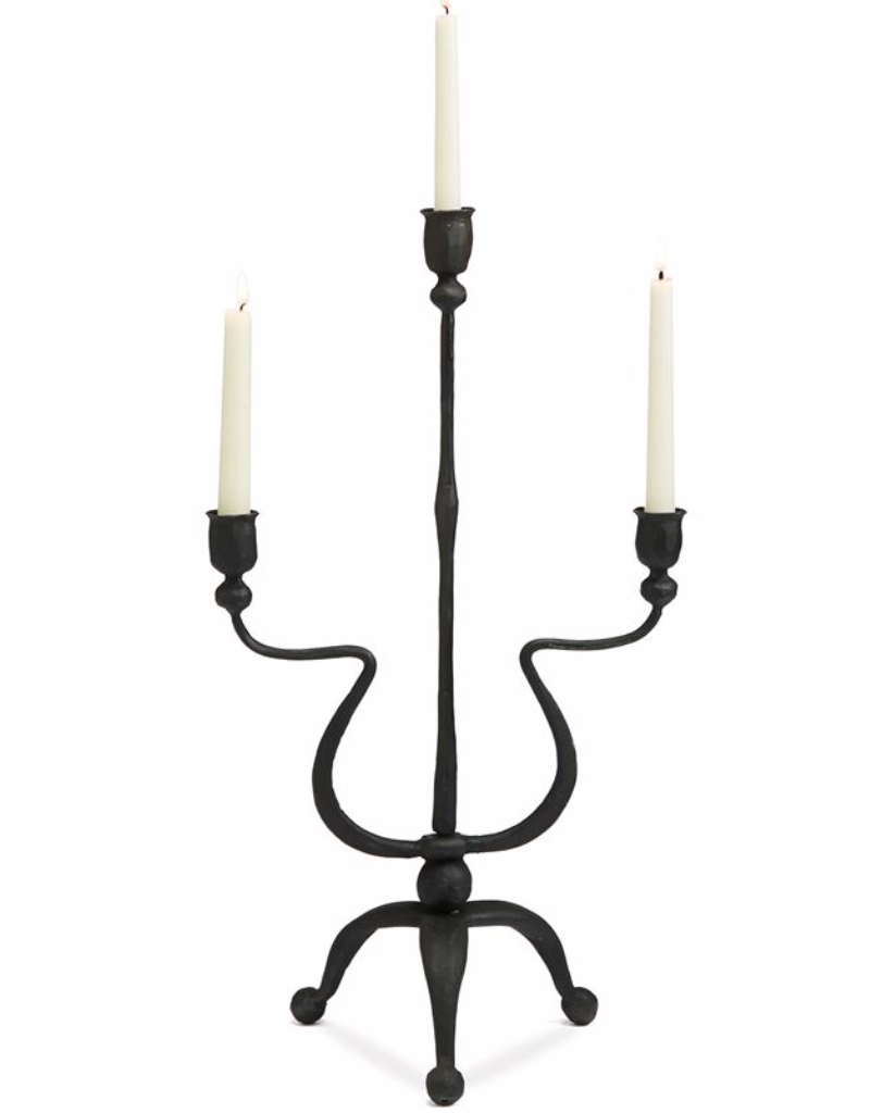 Mud Pie Hand-Forged Triple Candlestick Holder Cast Iron
