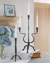 Load image into Gallery viewer, Mud Pie Hand-Forged Triple Candlestick Holder Cast Iron