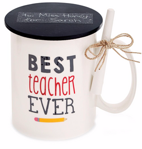 Mud Pie Best Teacher Ever Mug w Chalk