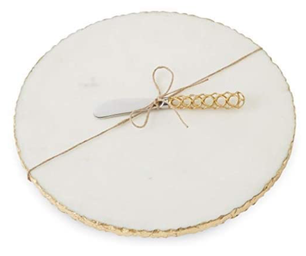 Mud Pie Gold Edge Marble Cheese Board Set