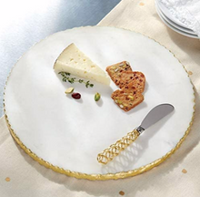 Load image into Gallery viewer, Mud Pie Gold Edge Marble Cheese Board Set