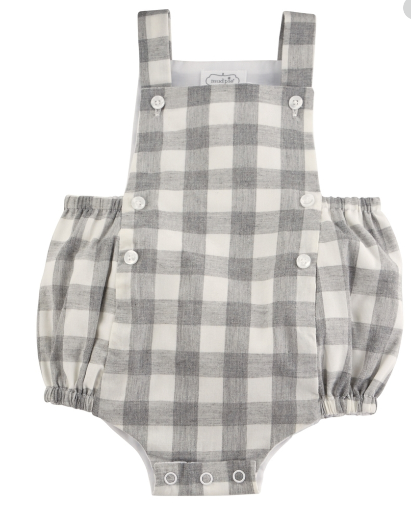Mud Pie Grey Gingham Bubble