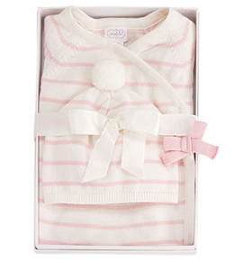 Mud Pie Pink Ivory Knitted Gift Set