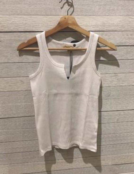 Articles of Society White Split Neck Ribbed Tank