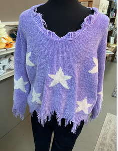 Oddi Plus Lavender Star Frayed Sweater