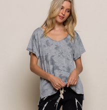 Load image into Gallery viewer, POL Nightdrop Gray Dyed V Neck Top