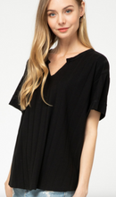 Load image into Gallery viewer, Entro Black Notch Neck V-neck Top