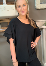 Load image into Gallery viewer, Umgee Black Ruffle Sleeve Top