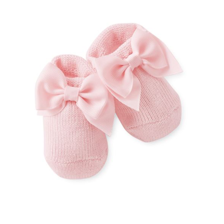 Mud Pie Pink Bow Knit Booties