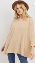 Load image into Gallery viewer, Cherish Taupe V-Neck 3/4 Sleeve Poncho Sweater