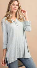 Load image into Gallery viewer, Kori Brushed Rib Henley Sage