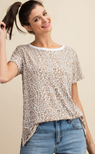 Load image into Gallery viewer, Kori Leopard Print Jersey Top Olive Mix