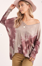 Load image into Gallery viewer, Mocha Lavender Tie Dye Top