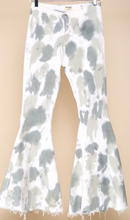 Load image into Gallery viewer, Off White/Sage Tie Dye Flares