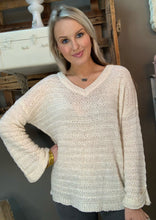Load image into Gallery viewer, V-Neck Knit Sweater w Wide Arm/Ivory