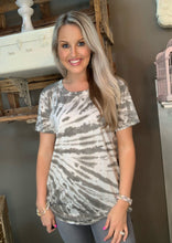 Load image into Gallery viewer, SL- Kori Tie Dye Short Sleeve Charcoal Top