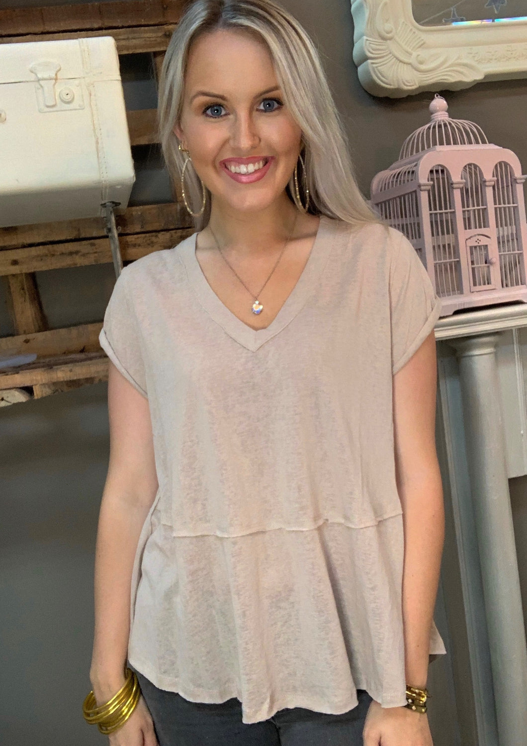 SL- V-Neck Tiered Top w/ Raw Edge Latte
