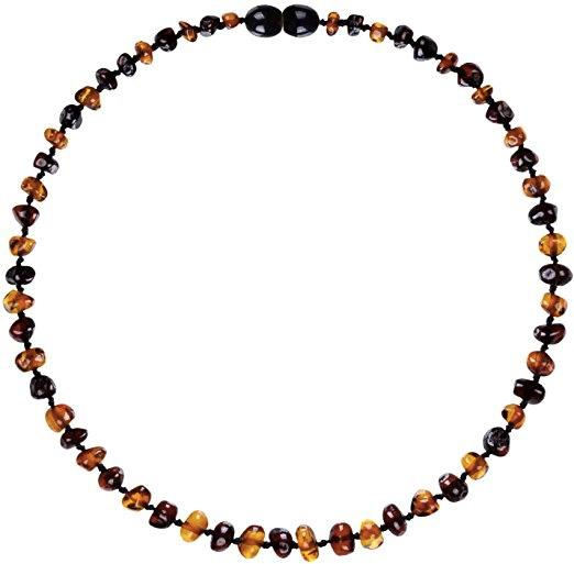 Powell's Owls Amber Teething Necklace Cognac/Cherry Mix