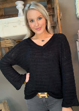 Load image into Gallery viewer, V-Neck Sweater w Wide Arm Black