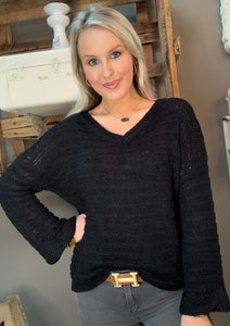 V-Neck Sweater w Wide Arm Black