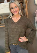 Load image into Gallery viewer, V-Neck Knit Sweater w Wide Arm Olive