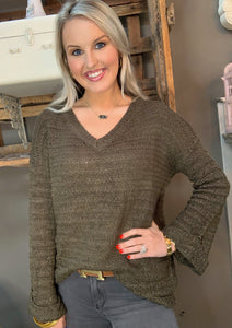 V-Neck Knit Sweater w Wide Arm Olive